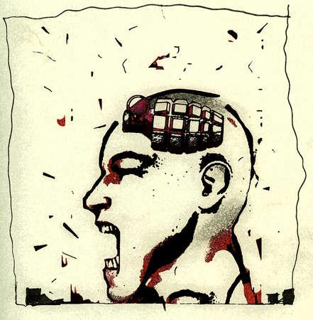 Grenade inside head of raging man