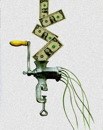 One dollar bills falling into meat grinder