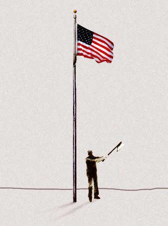 Man with axe chopping flagpole with American flag
