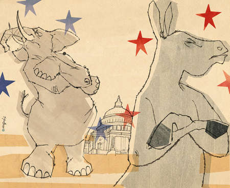 Donkey and Elephant ,Democrats and Republicans