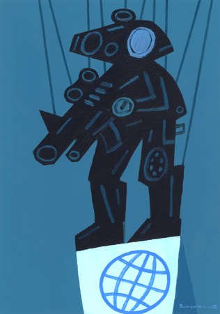 Robot Soldier as Puppet Standing on Globe