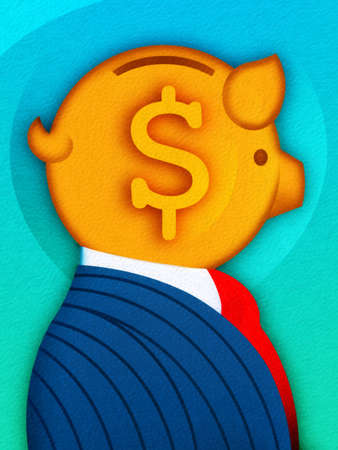 Businessman with dollar sign piggy bank head