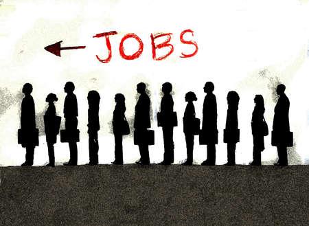 "Business people in queue under ""jobs"" sign"