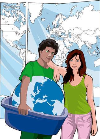 Portrait of couple holding globe in bin