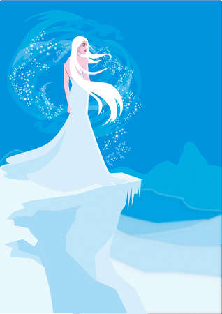 Beautiful woman in white dress at the edge of ice cliff