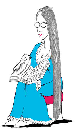 Woman with long hair combing pages of book