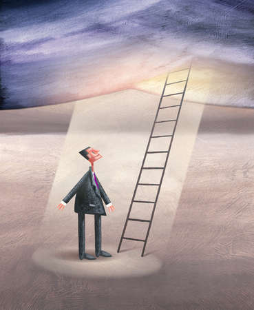 Man looking Skyward in Front of Ladder