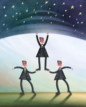 Three Businessman Holding Up Starry Sky