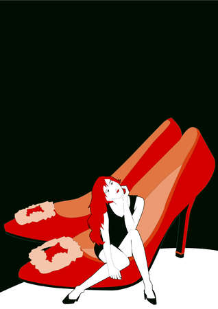 Woman sitting inside red high heel