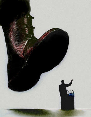 Large boot hovering over man at podium
