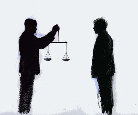 Businessman holding Scales of Justice