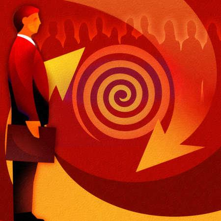 Businessman standing near vortex