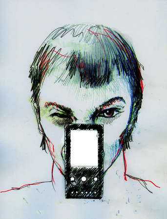 Man making a face behind cell phone
