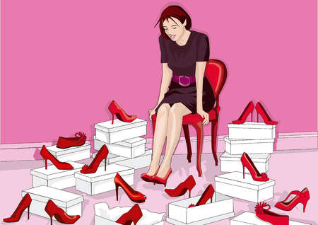 Woman surrounded by red high heel shoes in store