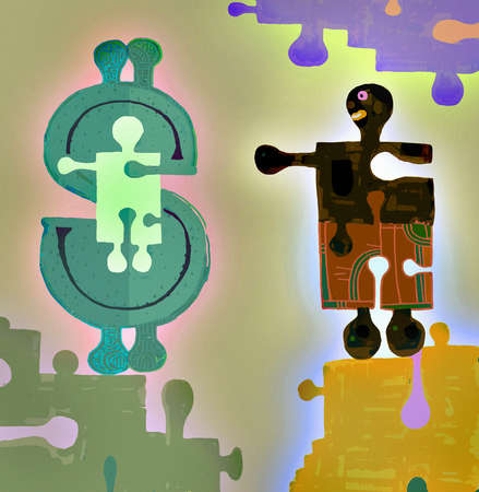 Jigsaw pieces forming man, child and dollar sign
