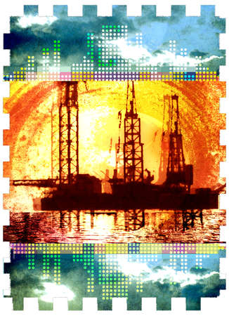 Montage of oil rigs and blazing sun