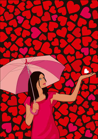 Woman with umbrella catching heart in palm