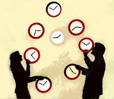 Couple juggling clocks
