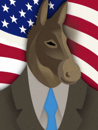 Donkey in a Suit and Tie in Front of US Flag
