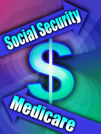 Dollar sign surrounded by ?Social Security? and ?Medicare? arrows