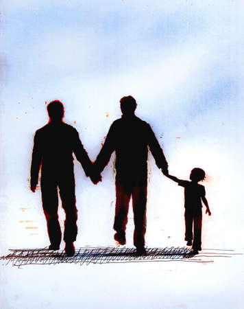 Boy holding hands with homosexual parents