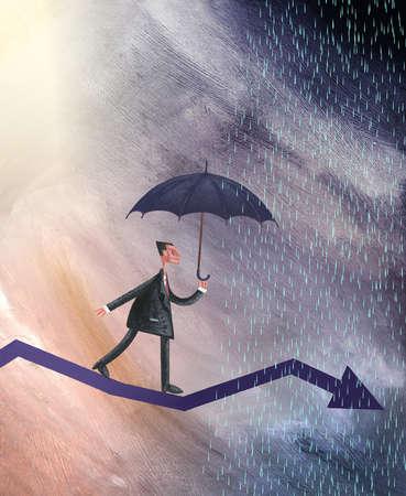 Businessman With Umbrella Walking on a Arrow in the Rain.