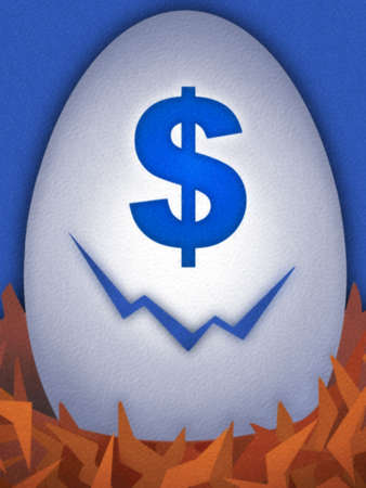 Cracked egg with blue dollar sign