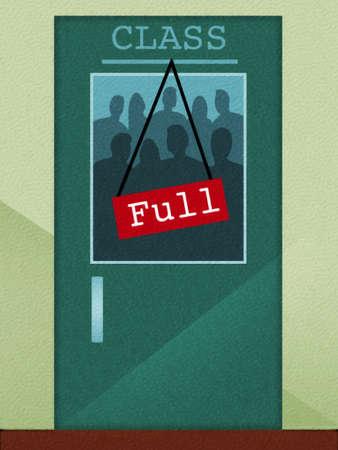 ?Class Full? sign hanging on door
