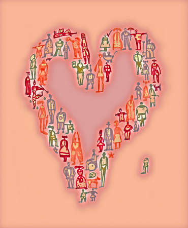 People forming heart-shape