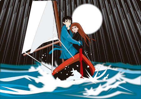 Couple in boat on stormy ocean