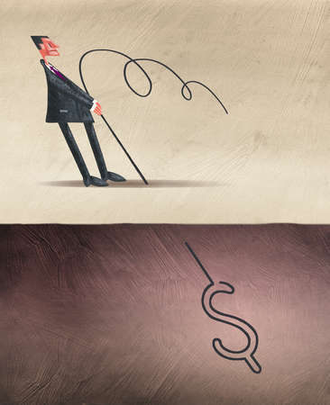 Businessman Tugging at Rope Attached to US Dollar Sign