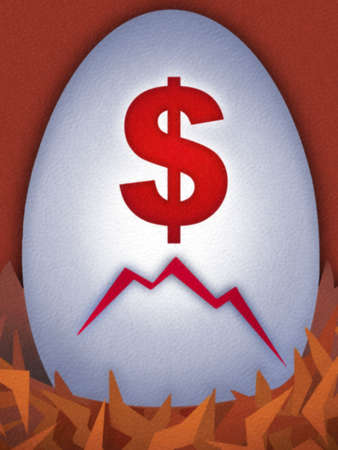 Cracked egg with red dollar sign
