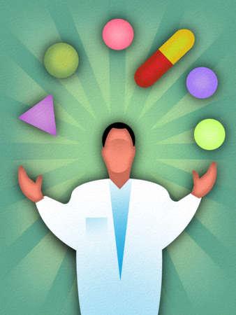 Physician Juggling Medication