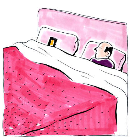 Stock illustration man sleeping with cell phone in bed for Cell phone bed