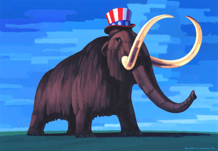Republican as Wooly Mammoth Wearing Uncle Sam Hat