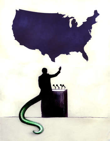 Man with reptilian tail at podium below United States map