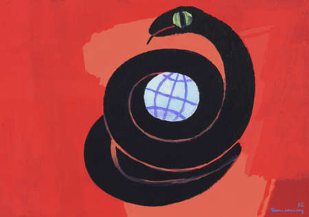 Serpent Wrapped Around Globe