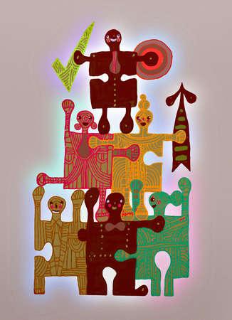 Jigsaw pieces forming human pyramid