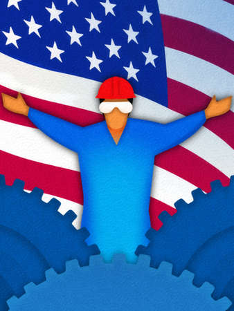 Blue collar worker standing with arms outstretched among cogs and American flag