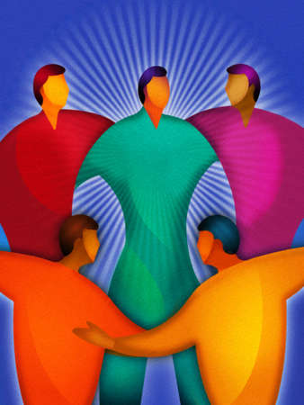 Group of people around a leader