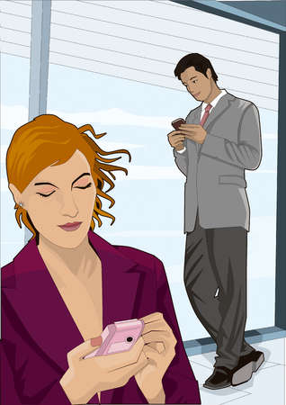Businessman and businesswoman texting with cell phones in office