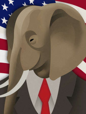 Elephant in a suit and tie in front of US Flag