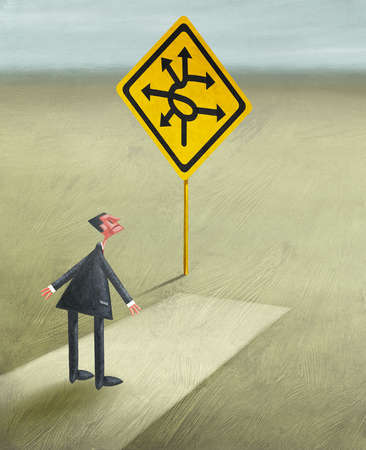 Businessman at End of Road Looking At Multi Directional Road Sign
