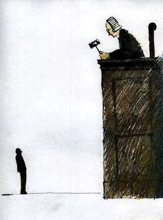 Man standing below tall judge?s bench