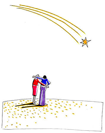 Couple standing below shooting star