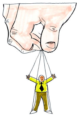 Large hand lifting man on puppet strings