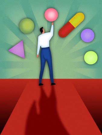 Man Choosing Among Different Medications