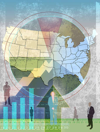 Montage of Business people,map of the United States,arrows,globe and graphs