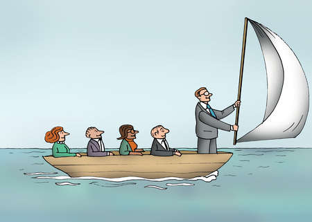 Co-workers watching businessman holding sail at front of boat