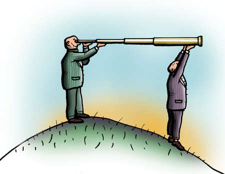 Businessman holding end of telescope for co-worker